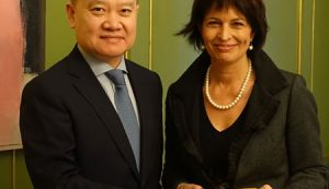 Assistant Foreign Minister Liu Haixing Meets with President Doris Leuthard of the Swiss Confederation